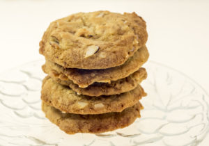 stack of 5 almond brickle cookies