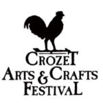 "Black rooster on top of weathervane with words ""Crozet Arts & Crafts Festival"" in black, white background"