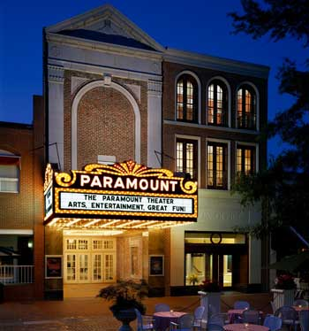 front facade of The Paramount Theater at night