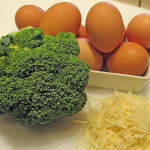 broccoli, eggs, cheese