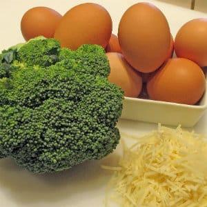 broccoli, eggs, cheese